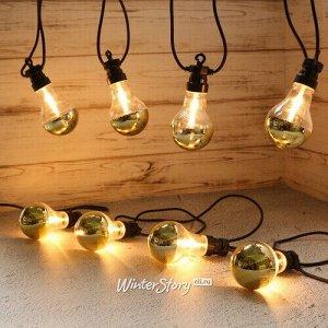 Ретро гирлянда Золото Эдисона, 20 ламп, экстра теплые белые LED, 9.5 м, черный ПВХ, соединяемая, IP44 (Kaemingk)