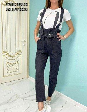 Стильный джинсовый комбинезон с регулируемой талией