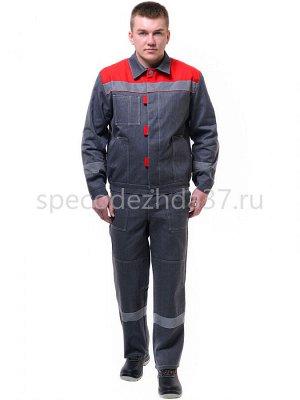 """Костюм рабочий """"Липецк"""" с СОП цв.серый/красный тк.барьер (куртка+пк)"""