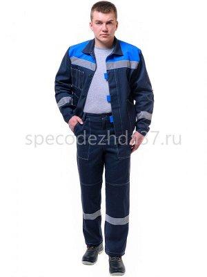 """Костюм рабочий """"Липецк"""" с СОП цв.т.синий/василёк тк.барьер (куртка+брюки)"""