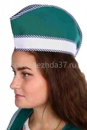 """Головной убор """"Пилотка"""" цв.зелёный тк.габардин"""