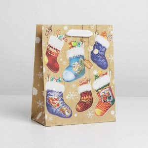 Пакет крафтовый вертикальный «Носочки с подарками», MS 18 ? 23 ? 8 см