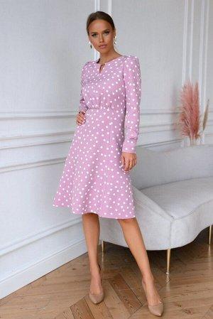 Платье Платье в модный горошек Данная модель отличается оригинальным стилем и изящными фасоном. Эффектное, очень практичное  платье с расклешенной юбкой и  длинными рукавами выполнено из трикотажного