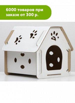 """Домик для кошек картонный """"Кристофер"""" Белый 40*30,5*39см"""