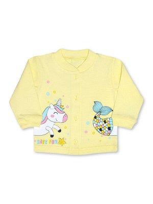 Кофточка ЦВЕТ: Жёлтый светлый; РИСУНОК: Единорог; СОСТАВ: Хлопок 100%; МАТЕРИАЛ: Кулирка Симпатичная кофточка для вашей малышки. Кофточка застёгивается на пуговки впереди, на полочке - очаровательный