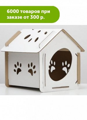 """Домик для кошек картонный """"Оскар"""" Белый 40*30,5*39см"""