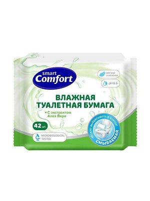 Comfort smart Влажная туалетная бумага 42шт АЛОЭ ВЕРА /45/ 72053