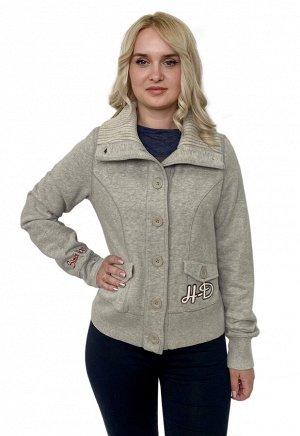 Женская куртка пиджак Harley-Davidson – высокий ворот, ровный серый цвет, брендовая аппликация №2038