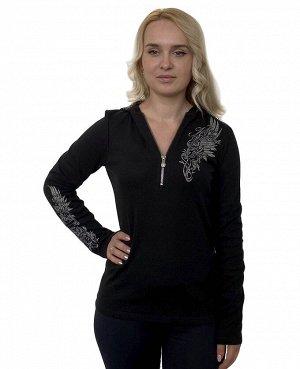 Фирменная женская кофта Harley-Davidson – фишка модели – усыпанный пайетками капюшон и брендовое мото-лого на спинке №1156