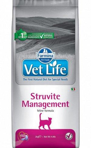 Farmina Vet Life Cat Management Struvite диета сухой корм для кошек профилактика рецидивов МКБ 400гр