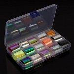 Набор переводной фольги для дизайна ногтей «Holographic neon», 2,5 * 100 см, 15 шт, цвет разноцветный
