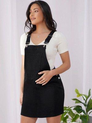 Джинсовое платье-сарафан с карманом для беременных