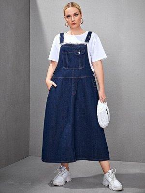 Джинсовое платье-сарафан размера плюс без футболки