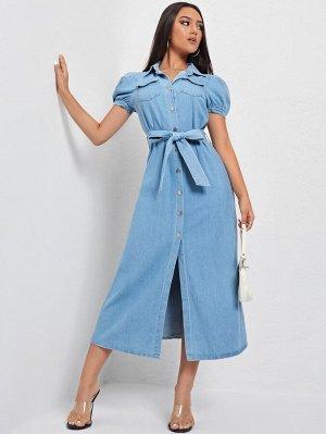 С поясом с карманами Пуговица Одноцветный Джинсовые платья