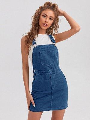 Джинсовое платье с карманами