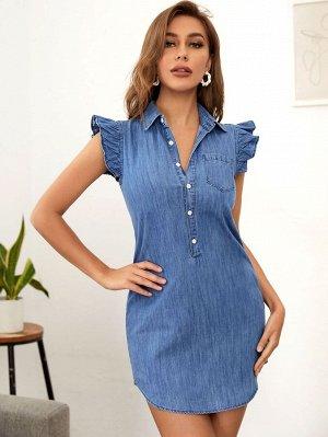Джинсовое платье-рубашка с вышивкой на рукавах и карманами с заплатками