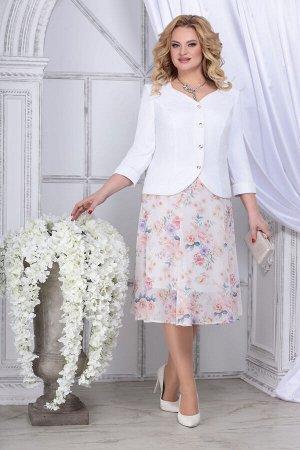 Жакет, юбка Ninele 5839 белый_чайная роза