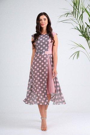 Платье SandyNa 13976 серо-розовый_горох