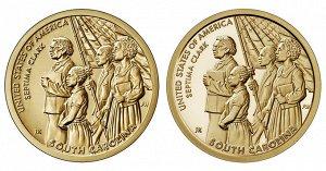 Монета Банк США Американские инновации - Септима Кларк (Южная Каролина) 1 доллар 2020 года