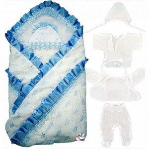 """548/Конверт-одеяло на выписку """"Аистёнок""""(батист) 9 предметов Мальчик"""