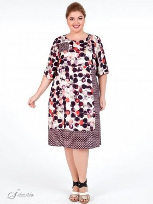 Платье Яркое летнее платье свободного покроя. Рукав втачной, длиной за локоть. В изделии используются ткани-компаньоны из натурального волокна, с оригинальным рисунком, выполненным в технике digital.