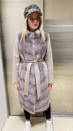 Арт. 311024 Пальто кашемировое с импортной норочкой