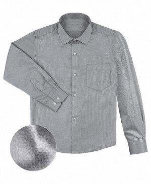 Серая школьная рубашка в полоску на мальчика Цвет: серый