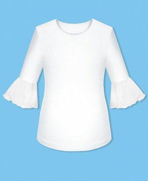Джемпер (блузка) для девочки с воланами,белый Цвет: белый