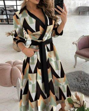 """Женское платье с запахом и поясом, длинный рукав, принт """"Геометрия"""""""