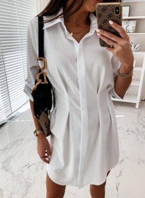 Женское платье-рубашка с длинным рукавом, цвет белый