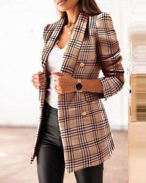 Женский пиджак в клетку, с декоративными пуговицами