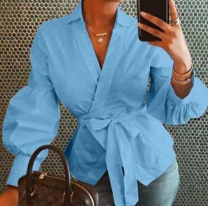Женская блуза с длинным рукавом, цвет синий