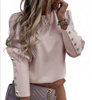 Женская блуза с длинным рукавом, цвет розовый