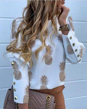 """Женская блуза с длинным рукавом, принт """"Ананасы"""", цвет белый"""