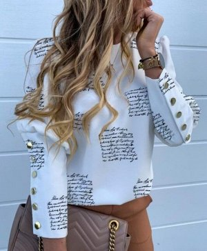 """Женская блуза с длинным рукавом, принт """"Надписи"""", цвет белый"""