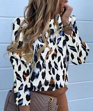 Женская блуза с длинным рукавом, с принтом