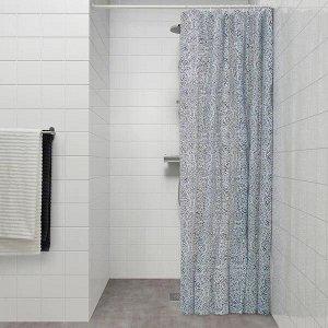 ÄNGSKLOCKA ЭНГСКЛОККА Штора для ванной, белый/синий180x200 см