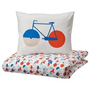 SPORTSLIG СПОРТСЛИГ Пододеяльник и наволочка, орнамент «велосипед»150x200/50x70 см