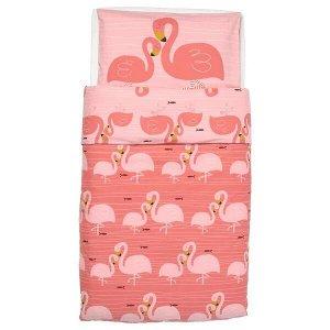 RÖRANDE РЁРАНДЕ Пододеяльник и наволочка д/кроватки, фламинго/розовый110x125/35x55 см