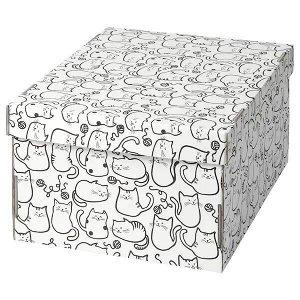 SMEKA СМЕКА Коробка с крышкой, белый/кот26x32x17 см