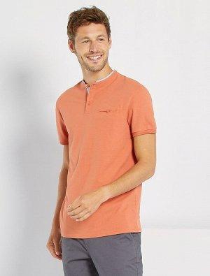 Рубашка-поло с воротником мао из хлопка пике