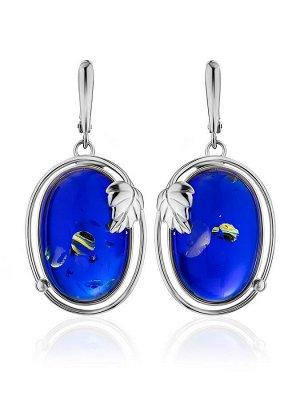Эффектные серьги «Элегия» с натуральным янтарём синего цвета