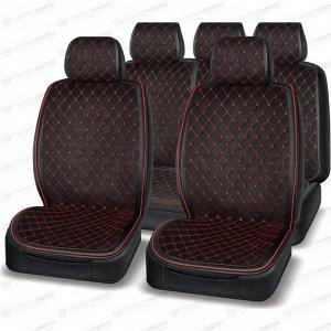 Чехлы-накидки AUTOPREMIER Boss для передних и задних сидений, экокожа, черный/красный цвет, комплект