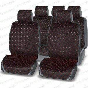 Чехлы-накидки AUTOPREMIER Absolute для передних и задних сидений, алькантара и экокожа, черный/красный цвет, 4 предмета
