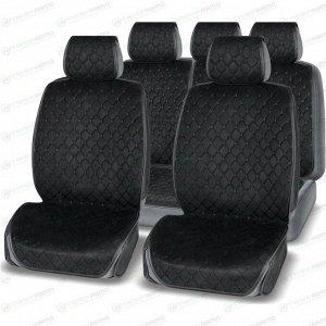 Чехлы-накидки AUTOPREMIER Absolute для передних и задних сидений, алькантара и экокожа, черный цвет, 4 предмета