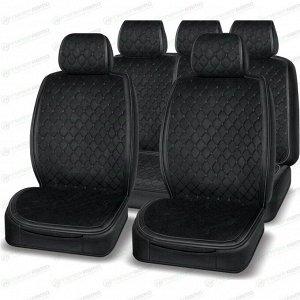 Чехлы-накидки AUTOPREMIER Boss для передних и задних сидений, экокожа, черный цвет, комплект
