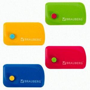 """Ластик выкидной BRAUBERG """"Delta"""", 60х33х18 мм, цвет ассорти, пластиковый держатель ассорти, 223594"""
