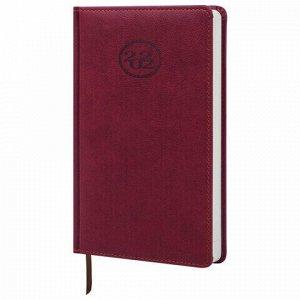"""Ежедневник датированный 2022 А5 138x213 мм BRAUBERG """"Favorite"""", под кожу, бордовый, 112729"""