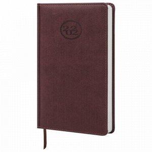 """Ежедневник датированный 2022 А5 138x213 мм BRAUBERG """"Favorite"""", под кожу, коричневый, 112730"""