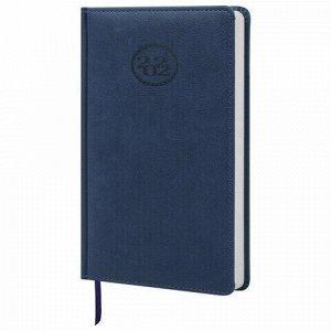 """Ежедневник датированный 2022 А5 138x213 мм BRAUBERG """"Favorite"""", под кожу, темно-синий, 112731"""